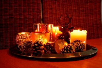 dienblad - kerstlichtjes - kaarsen