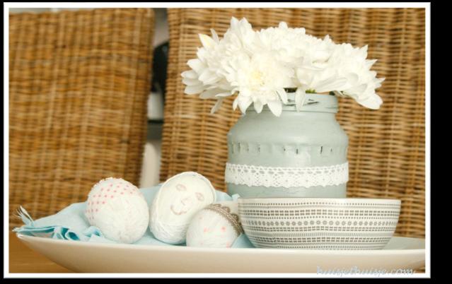 handpainted-eastereggs-and-jar - white chrysanthemum