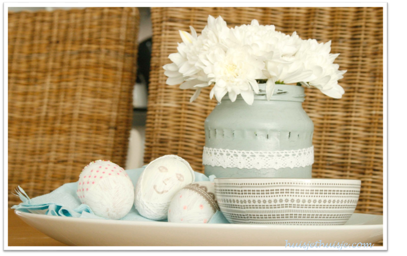 handpainted-eastereggs-and-jar - white chrysanthemum
