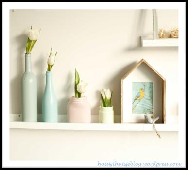 painted jars & bottles - pastels - flowers - spring