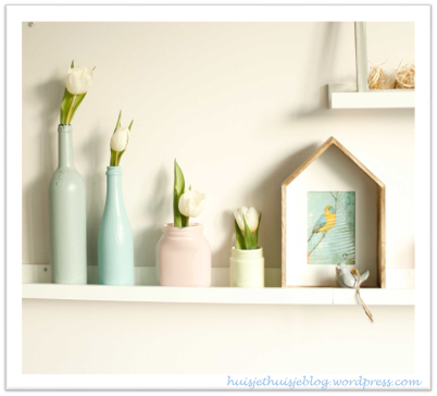 painted jars & bottles - pastels - flowers - spring